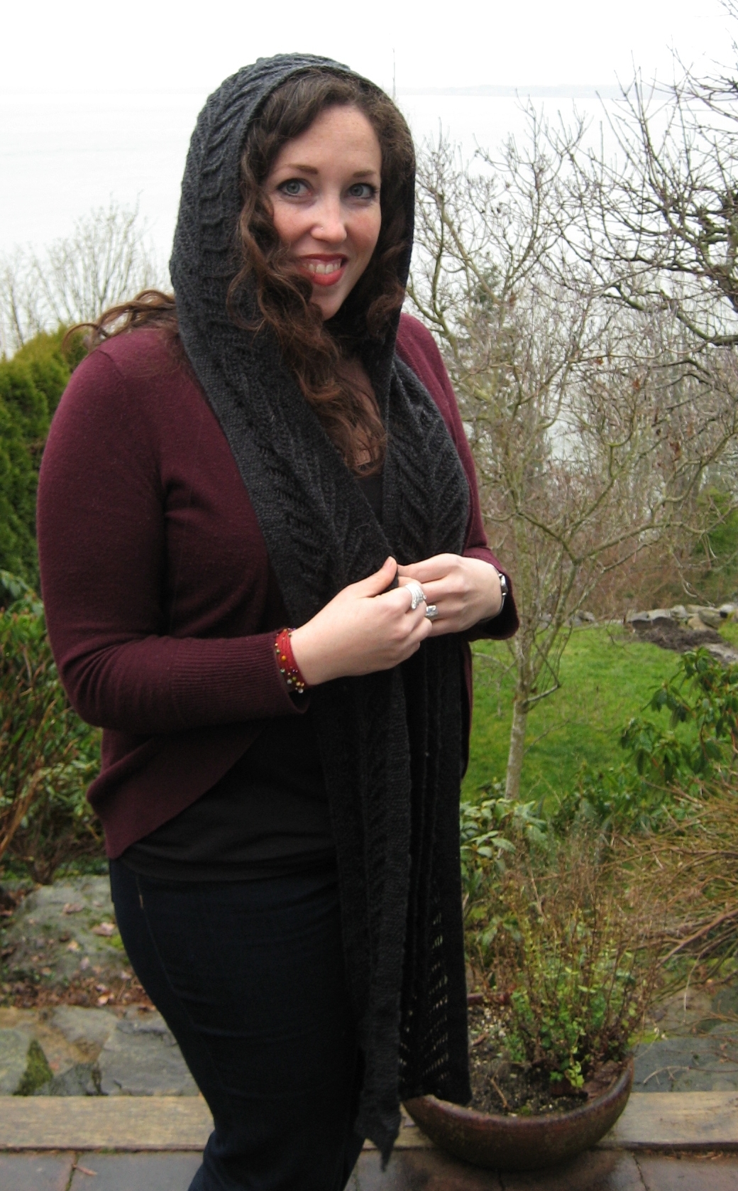 Knitting Pattern: Aglaope - A Lacey, Hooded Scarf