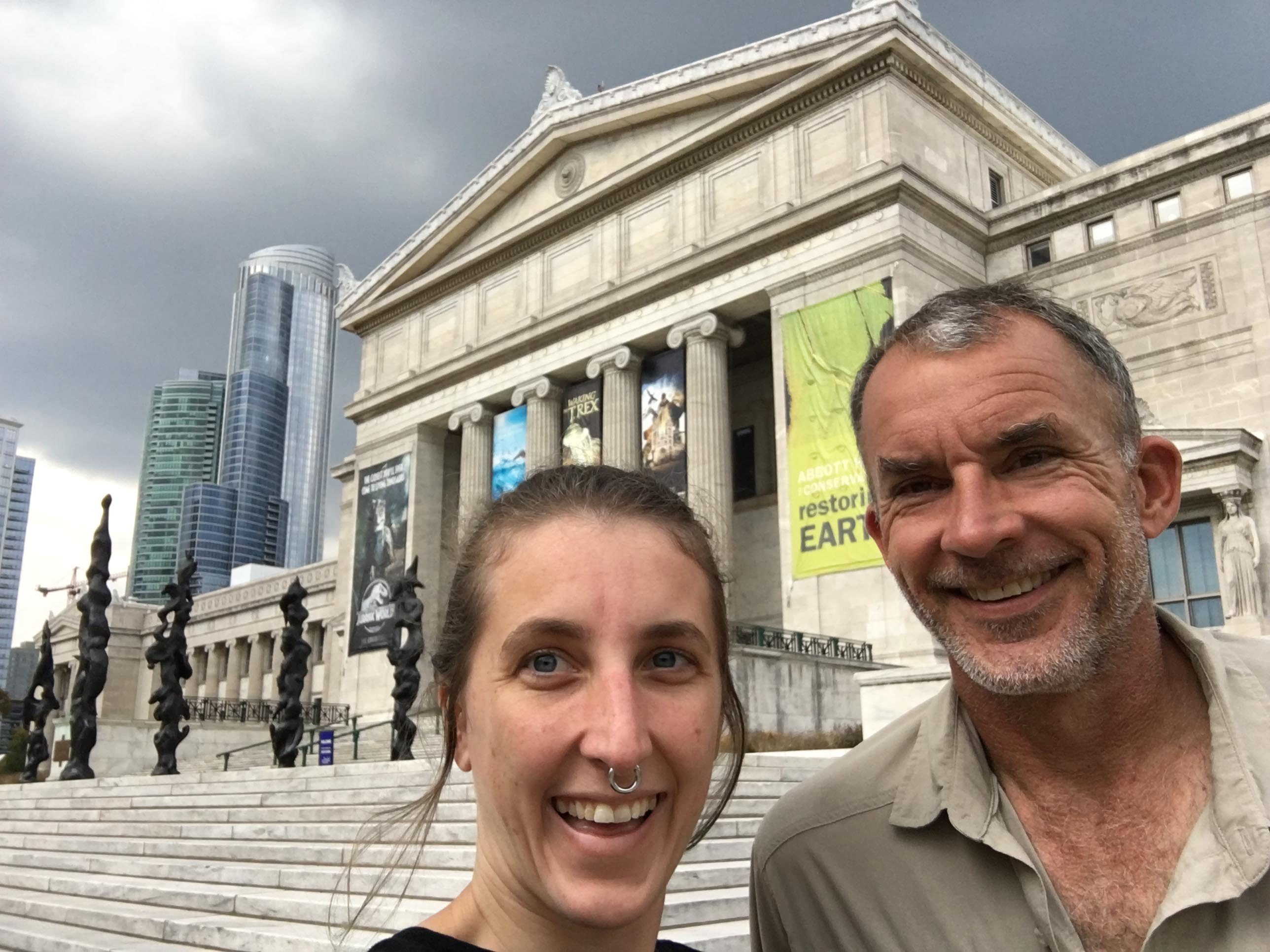 selfie with my dad in front of the field museum